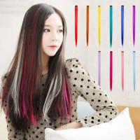 Hair Clip Extention Warna Polos Clip On 55cm Hair Clip Warna Highlight - Biru thumbnail