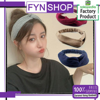 Fynshop AR22 Bandana Simpul Rajut Elastis Ala Korea BANDO POLOS - Hitam thumbnail