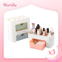 Marvilo Rak Makeup Kosmetik Serbaguna Bahan Plastik 3 Pcs - Biru Muda thumbnail