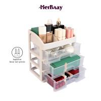 Kotak penyimpanan tiga lapis kosmetik kapasitas besar transparan - transparan thumbnail