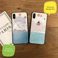 Iphone case / casing iphone soft case hard case 3D relief hippo & Bear