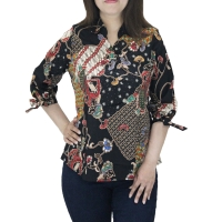 XL-XXL Blouse batik jumbo bigsize wanita lengan panjang katun strecth