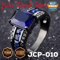 Cincin Pria Blue Sapphire Zircon Black Gold JCP-010
