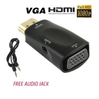 HDMI to VGA Converter with Audio untuk Komputer Laptop dll