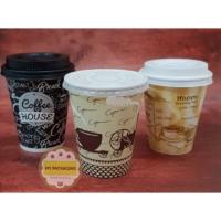 1 SET: Paper Cup/Gelas kopi 8 oz(50pcs)+ Tutup(50pcs)+ Tanpa Stirrer