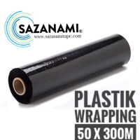 STRETCH FILM 50CM X 300M HITAM PLASTIK WRAPPING PLASTIC WRAP PACKINGAN