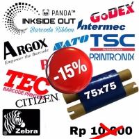 75mmX75m BARCODE RIBBON WAX (Face Out) PANDA Thermal Transfer Ribbon