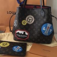 Pre Order Tas Wanita Louis Vuitton Monogram World Tour Neverfull MM