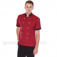 Seragam / Baju Koki Merah Maroon List Hitam Lengan Pendek High Quality