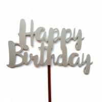 Cake Topper Happy Birthday Silver