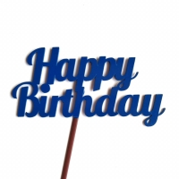 Cake Topper Happy Birthday - Biru tua