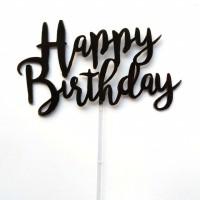 Cake Topper Happy Birthday - Hitam