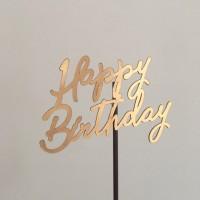 Cake topper - Tusukan Kue Happy Birthday - Gold