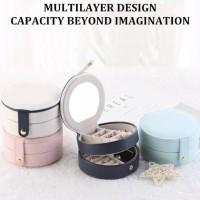 PANACHE Korean Double Layer Round Jewelry Box, Kotak Perhiasan