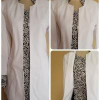 Setelan blazer wanita warna putih hitam motif batik kode 209