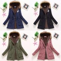 Jaket Winter Parka Casual | Fur Long Coat Musim Dingin Army Bulu