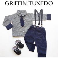 Griffin Tuxedo / Kemeja Bayi Laki-laki / Baju Kondangan Suspender Bayi