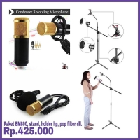 Paket mic bm 800, stand, pop filter dan holder hp, splitter audio