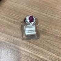Cincin Laki batu ungu emas putih