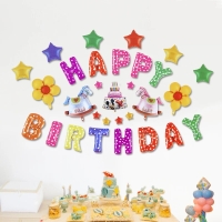 Balon Foil Happy Birthday Baby Lengkap Biru Pink