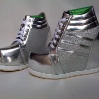 Jual Sepatu wanita sneaker wedges boots high heels kets silver hak tinggi Murah