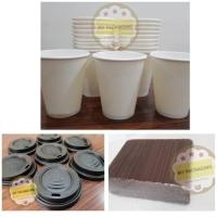 1 SET:Paper Cup/Gelas kopi 8 oz(100pcs)+ Tutup(100pcs)+ Stirrer(100pcs
