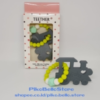 Teether Bayi Mainan Gigitan Bayi Model Gelang Train Kereta Grey