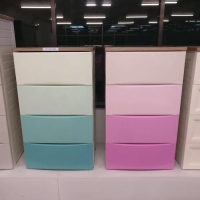 Lemari plastik 4 laci Olymplast warna pink ODC m 04