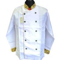 Baju Koki / Chef Putih Kombinasi Batik Kuning Lengan Panjang