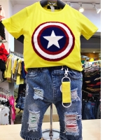 Baju Anak Laki Kuning Kapten Amerika - Celana Pendek Anak Cowo Import