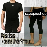 Stelan baselayer baju dan celana 3/4 gym renang paket baselayer fitnes