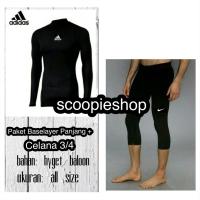 Paket Stelan Celana Baselayer pjg Manset Adidas Renang Gym Legging 3/4