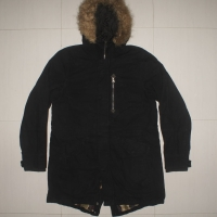 SUN DOGS CORONA JAPAN Black Faux Army Mod Fishtail Parka Jacket