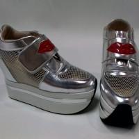 Jual Sepatu wanita sneaker wedges heels hak tinggi zumba boots kets silver Murah