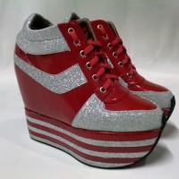 Jual Sepatu wanita sneaker hidden wedges heels hak tinggi kets boots merah Murah