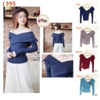 Harga sabrina lengan panjang baju sabrina v neck atasan cewe korea | Pembandingharga.com