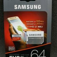 Memory Card SAMSUNG MicroSD 64GB Evo Plus 100MBs Class 10 FHD