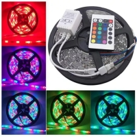 Lampu led strip RGB warna warni ip44 3528 komplit set adaptor remote
