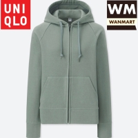 UNIQLO Women Jacket Sweat Hoodie Retsleting Jaket Wanita Green