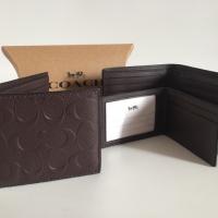 Dompet Coach Original - Coach Compact ID Wallet Mahogany Signature 7b3b167163