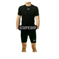 Paket Baselayer + celana gym pendek fitness futsal diving jogging