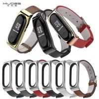 Mijobs PU Leather Kulit Strap Wristband Xiaomi Mi Band 3 Original