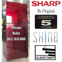 kulkas Sharp SJ-246XG 2 pintu Shine GlassDoor