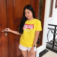 T-shirt / baju wanita / kaos cewek / tumblrtee / kaos LAZY kuning
