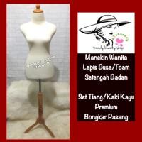 Manekin Lapis Busa/Foam Set Kaki Kayu Bisa Tusuk Jarum