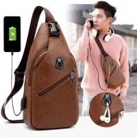 Tas Selempang Kulit | Sling Bag Slempang Pria USB port Kasual