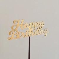 Cake topper Happy Birthday Gold / tusukan kue ulang tahun