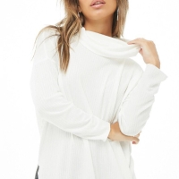 BBJ04607 F21 White Ribbed Knit Turtleneck Sweater