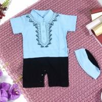 Baju koko anak cowok bayi 0 - 12 bulan romper muslim peci bordir murah
