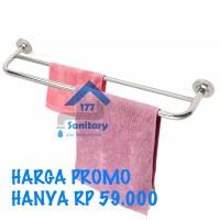 Rak handuk 2 baris stainles / gantungan tempat handuk hanger baju